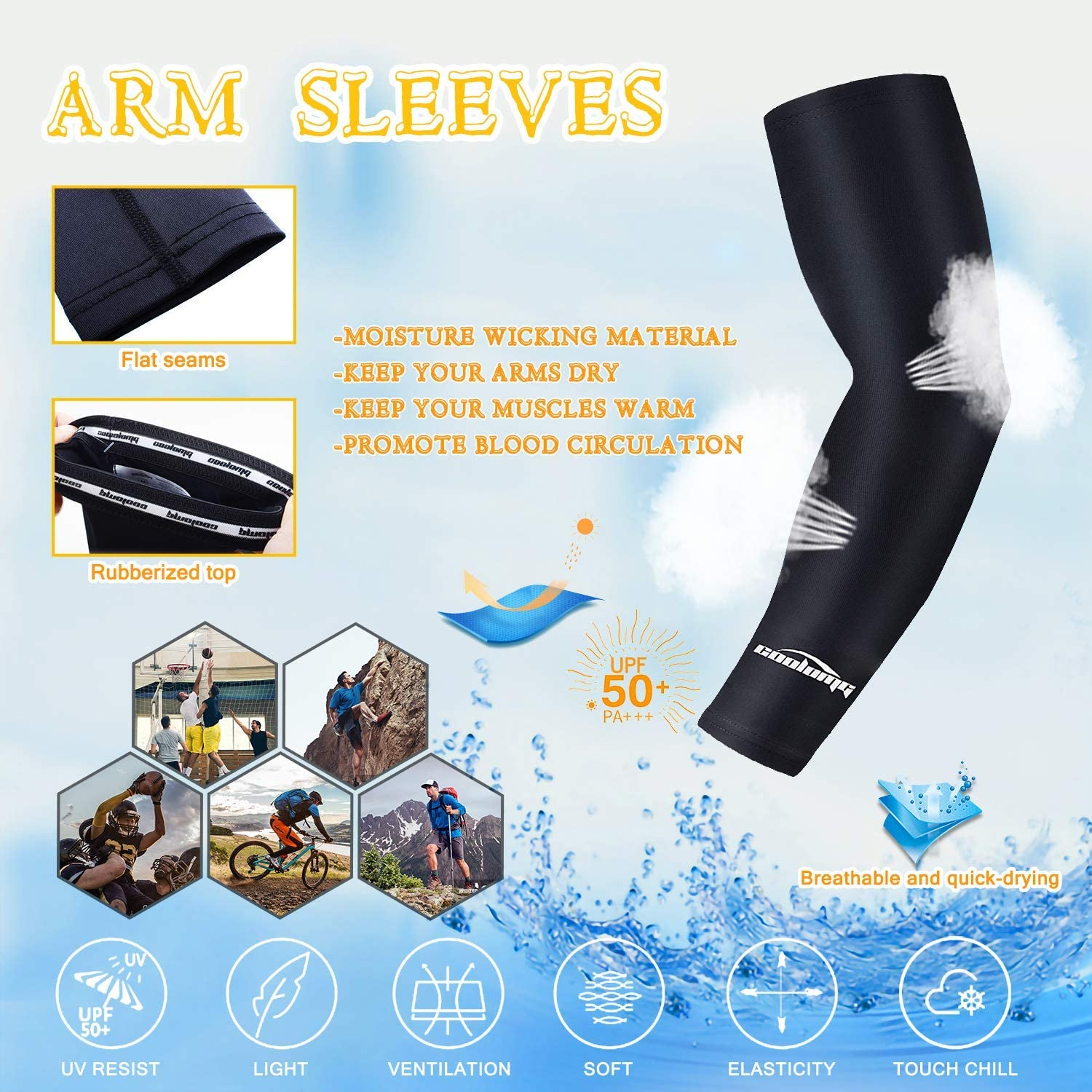 1 Piece COOLOMG Compression Arm Sleeve UV Protection Armwarmers Running Support for Kids Adults Unisex Single