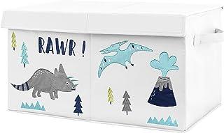 Sweet Jojo Designs Navy Blue, Turquoise and Grey Modern Dino Boy Baby Nursery or Kids Room Small Fabric Toy Bin Storage Bo...