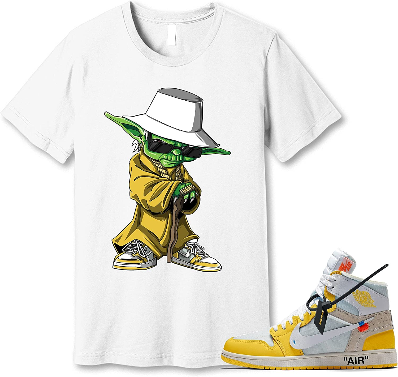 #Yoda White Long Beach Mall High order T-Shirt to Match Jordan Canary Snkr Sneaker Yellow 1