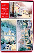 Hallmark Thomas Kinkade Boxed Christmas Cards Assortment, Snowy Houses (40 Cards with Envelopes and Foil Seals)