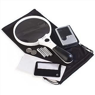 3 Magnifier Bundle: XL Quality Magnifying Glass with Light 10x 4X 2X Lenses + Pocket Magnifier with Light 6X 3X Lenses + Credit Card Magnifier with Light 3X Lens + Batteries, Bonus & Guarantee
