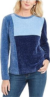 KAREN SCOTT Womens Navy Color Block Long Sleeve Jewel Neck Sweater AU Size:10