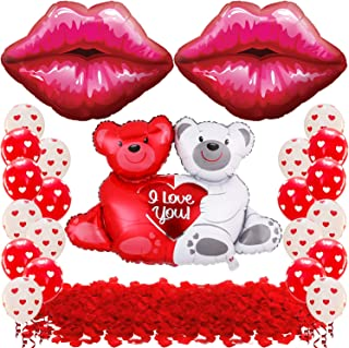 Teddy Bear Balloons and Lips Balloon Set - 1000 Red Rose Petals | Teddy Bear Balloon Foil Valentine's Day | Valentines Dec...