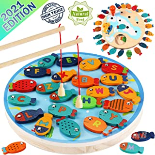 Magnetic Wooden Fishing Game Toy for Toddlers - Alphabet Fish Catching Counting Preschool Board Games Toys for 2 3 4 Year ...