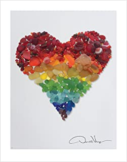 Best LOVE - Rainbow Sea Glass Heart Poster Print. 11x14 Great for Framing. Best Quality Gifts from The Heart Collection. Unique Birthday, Christmas & Valentines Day Gifts for kids, Women & Men Review