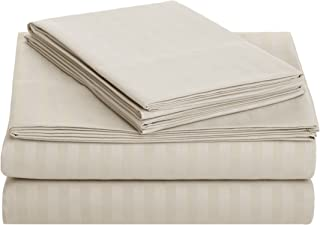 AmazonBasics Deluxe Striped Microfiber Bed Sheet Set - Twin XL, Beige