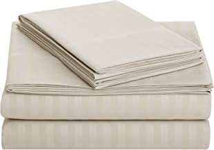 AmazonBasics Deluxe Microfiber Striped BedSheet Set (Includes 1 bedsheet, 1 Fitted Sheet with Elastic, 2 Pillow Covers), Beige, King