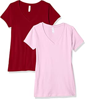 Clementine Apparel 2 Pack Short Sleeve T Shirts Tag Free V Neck Soft Comfort Cotton Blend Plain Undershirt Tees (1540)