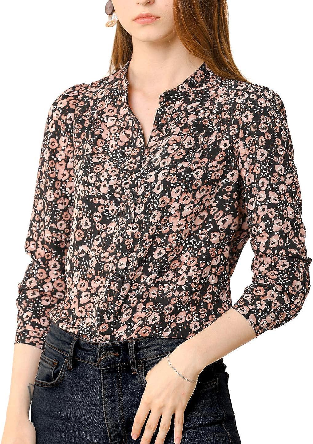 Allegra K Women's Chiffon Floral Tops V Neck Long Sleeve Button-Up Blouse Shirt