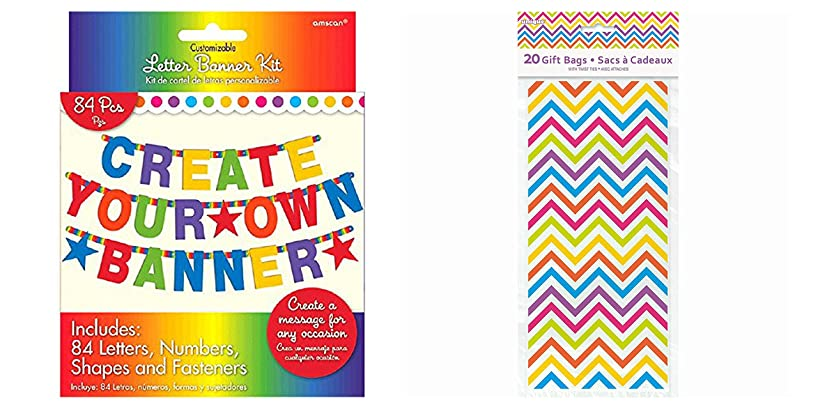 Maven Gifts Pack of 84 Amscan Rainbow Letter Banner Kit and Pack of 20 Unique Rainbow Chevron Cellophane Bags Bundled