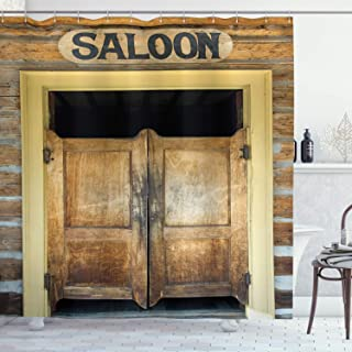 Ambesonne Saloon Decor Collection, Authentic Saloon Doors Of Old Western Building In Montana Ghost Town Image Print, Polyester Fabric Bathroom Shower Curtain Set with Hooks, Sienna Cream Brown