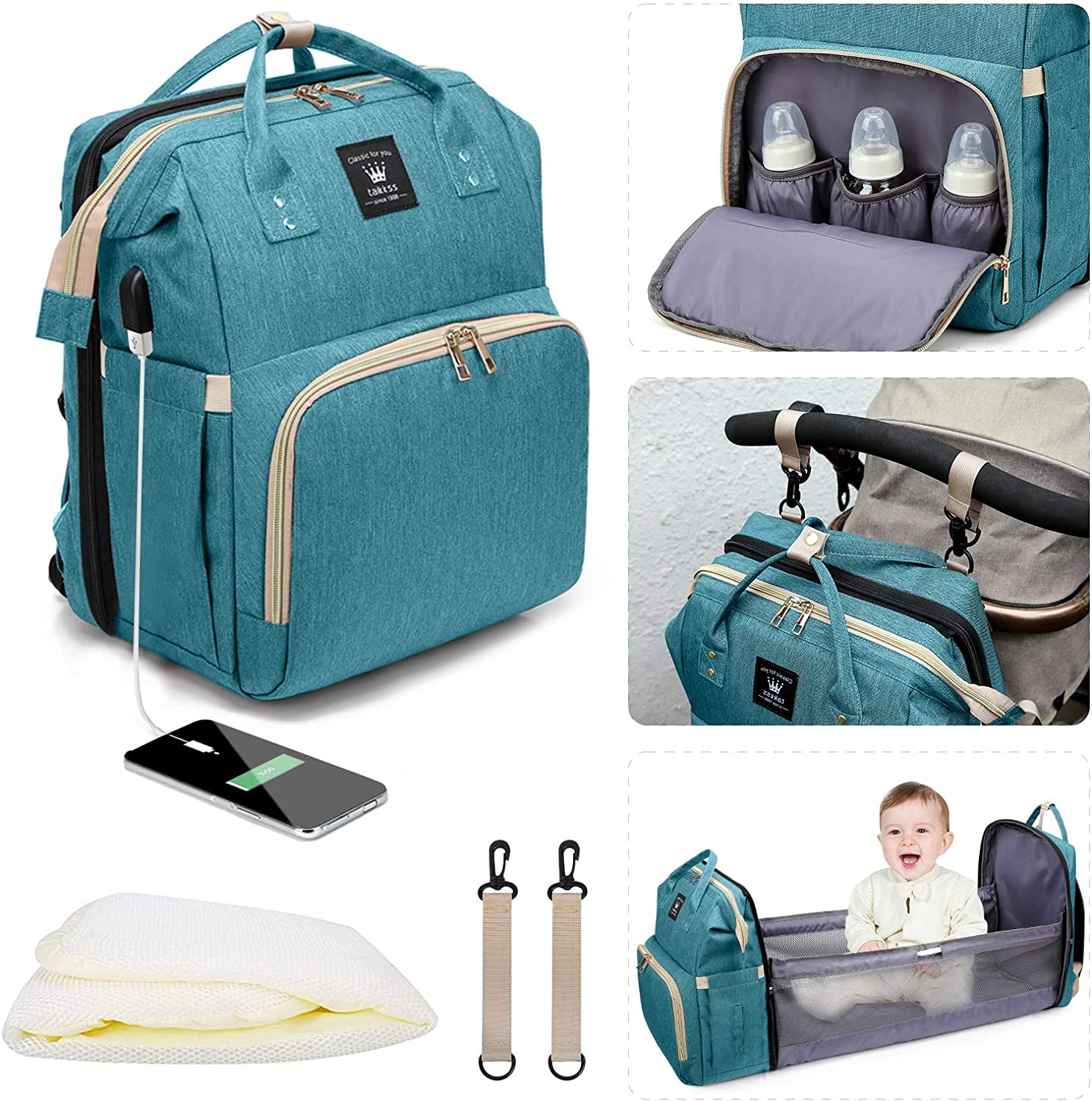 Leogreen 3 in 1 Diaper Backpack with Changing Station, Portable Baby Bag with USB Charging Port, Bassinet, Large Capacity Travel Nappy Bag with Stroller Straps Thermal Pockets, Dark Green