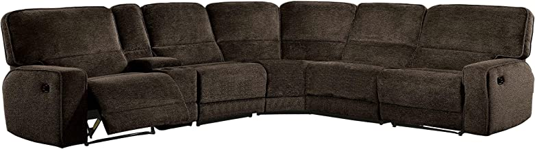 Homelegance Shreveport 6-Piece Sectional with Three Reclining Chairs, and Center Cup holders Console Fabric Chenille, Brown