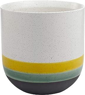 Rivet Westline Modern Indoor Outdoor Hand-Painted Stoneware Planter Flower Pot, 10
