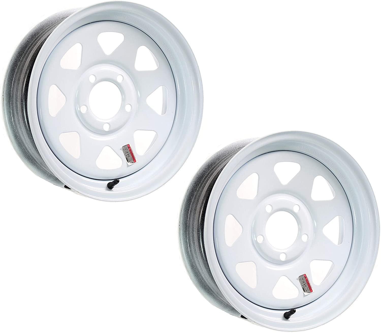 2-Pack Trailer Bombing free shipping Wheel Ranking TOP15 White Rims 15 x Lug On Style 5 in Spoke