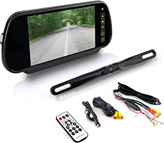 Pyle Backup Car Camera - Rear View Mirror Monitor System w/Safety Parking Assist Distance Scale Lines - Features Bluetooth, Waterproof Protection, Night Vision, 7 LCD Screen Display - PLCM7400BT