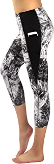 Sugar Pocket Womens Yoga Capris Running Pants Workout Legging Tummy Control with Side Pocket
