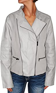 Women's Faux-Leather Textured Mixed-Media Moto Jacket (XL)