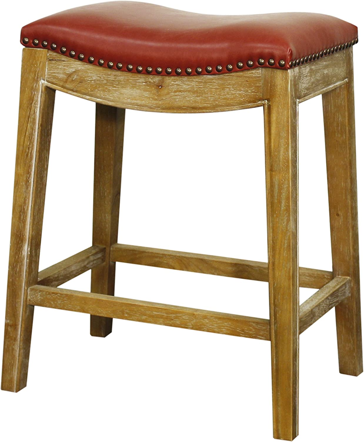 New Pacific Direct 358625B-V03-WS Elmo Bonded Leather Counter Stools, Vintage Red
