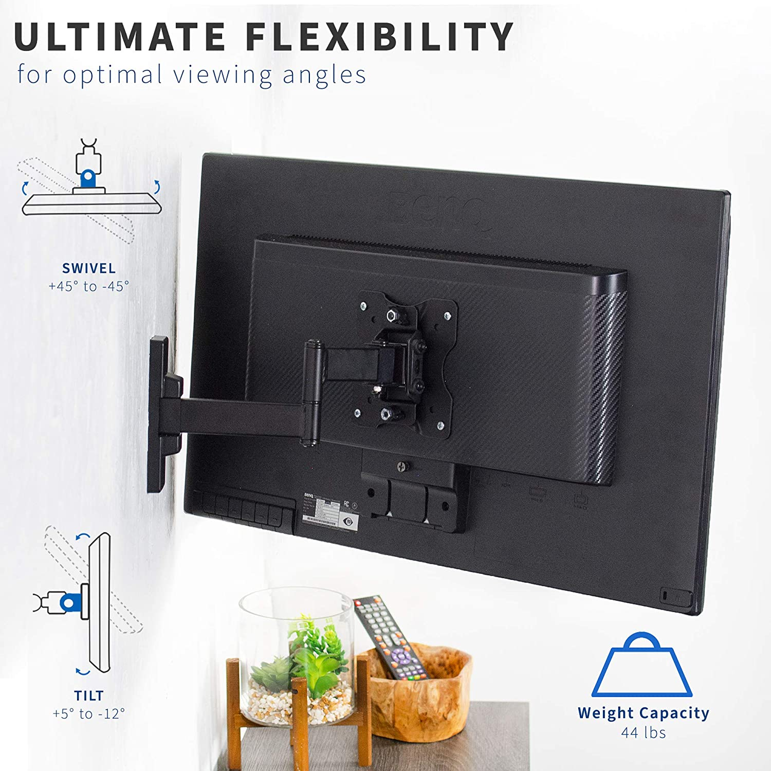 VIVO Full Motion Wall Mount for up to 27 inch LCD LED TV and Computer Monitor Screens, Tilt and Swivel Bracket with Max 100x100mm VESA, Black, MOUNT-VW01M