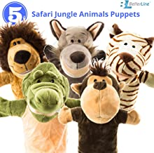 """Animal Hand Puppets 5-Piece Set - Premium Quality with Movable Open Mouths, 9.5"""" Soft Plush Hand Puppets For Kids- Perfect..."""