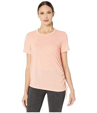 Nike Miler Top Short Sleeve Cinched (Pink Quartz/Heather/Reflective Silver) Women