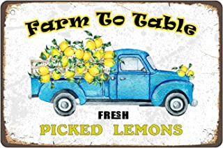 PleayeL Funny Lemon Metal Sign Wall Decor,Vintage Farm to Table Fresh Picked Lemons Poster Paintings Tin Sign Picture for ...