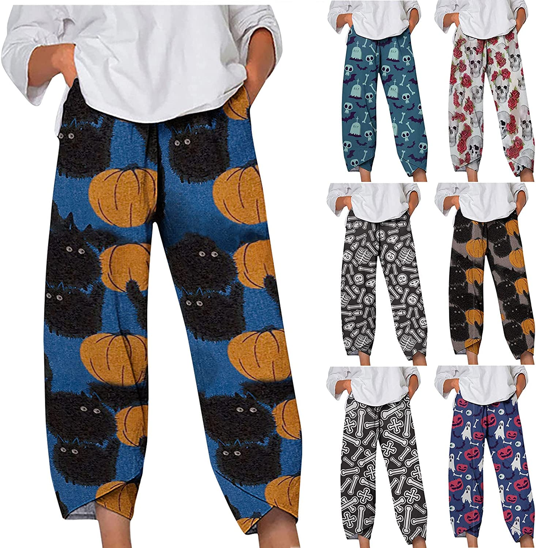 Women Halloween Pumpkin Cropped Harem Capri Pants Palazzo Lounge Pants High Waist Comfy Baggy Pajama Bottoms