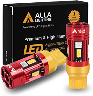 Alla Lighting CAN Bus T20 7440 7443 LED Bulbs Amber Yellow Turn Signal Lights, Plug-n-Play 7444NA 7442NA WY27/8W CANBUS Bl...