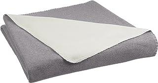 AmazonBasics Reversible Fleece Thin Blanket - King, Grey/Cream