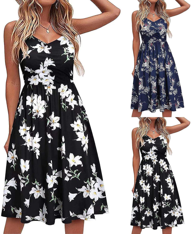 Summer Dress for Women,Womens V Neck Swing Dress Casual Summer Seaside Beach Dresses Sleeveless Folds Floral Sundress