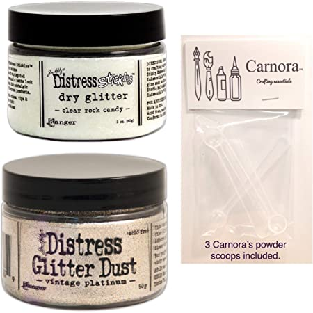 Tim Holtz Distress Glitter, 2 Jars, Clear Rock Candy and Vintage Platinium, Plus 3 Carnora Scoop Spoons, Bundle of 5 Items