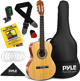 Pyle چپ دست Kit سایز کلاسیک گیتار آکوستیک کلاسیک - 36 اینچ Junior Starter 6 String Classic Classic Handcrafted Wood w/Bag Gig ، تیونر دیجیتال ، تار ، چسب ، بند ، برای دانش آموزان مبتدی چپ