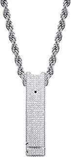 TOPGRILLZ 14K Gold Plated Simulated Diamond Carrying Case for Juul Iced Out Pendant Necklace for Men (Device Not Included,CASE ONLY)