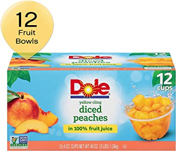 12-Pack Dole Yellow Cling Diced Peaches Fruit Bowls 4 Ounce