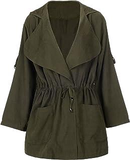 738638abb1f28 QZUnique Women s Plus Size Zipper Wind Coat Jacket Long Sleeve Loose  Pleated Short Coat Surcoat