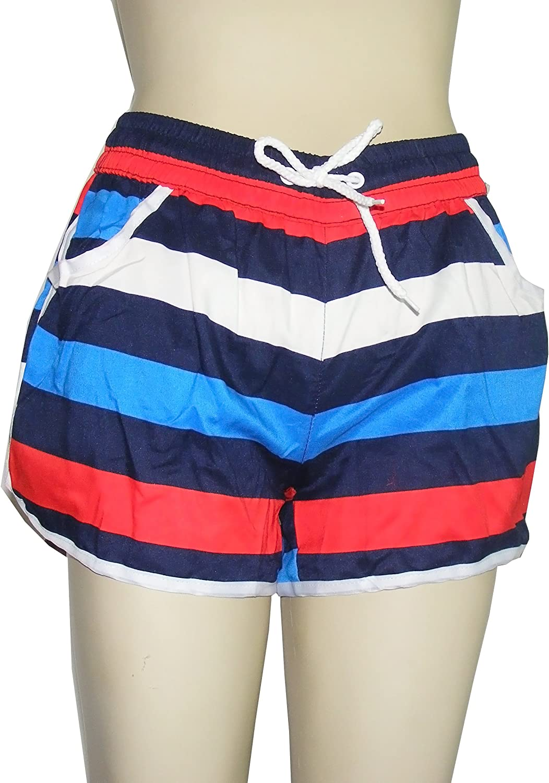 Colorfulworldstore Men Stripes Print Summer Beach Board Swim Shorts Trunks Pants