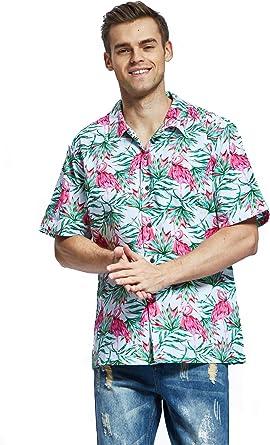 Camisa Hawaiana Hawaii para Hombres con Mangas Hawaianas Camisa Camisa Hawaiana de la Navidad Flamingo en Amor