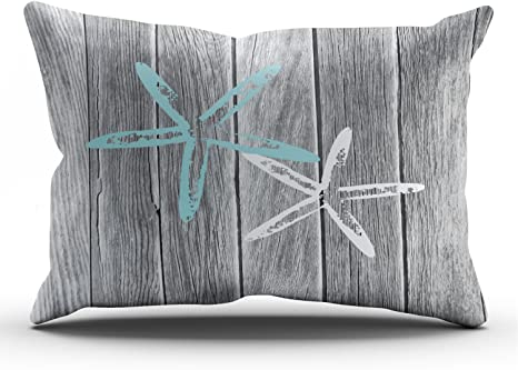 Amazon Com Fanaing Gray And Aqua Turquoise Beach And Starfish Pillowcase Home Sofa Decorative 20x20 Inch Square Throw Pillow Case Decor Cushion Covers One Side Printed Home Kitchen