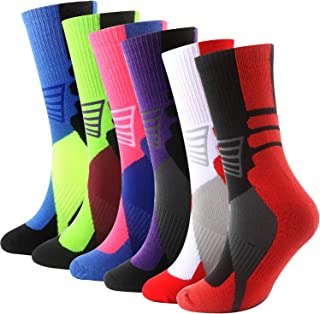 Areke Mens Cushion Basketball Crew Socks,Dri-Fit Calf Compression Athletic Outdoor Sport Soxs for Boy
