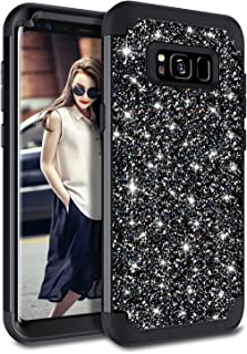 Casetego Compatible Galaxy S8 Plus Case,Glitter Sparkle Bling Three Layer Heavy Duty Hybrid Sturdy Armor Shockproof Protective Cover Case for Samsung Galaxy S8 Plus-Shiny Black