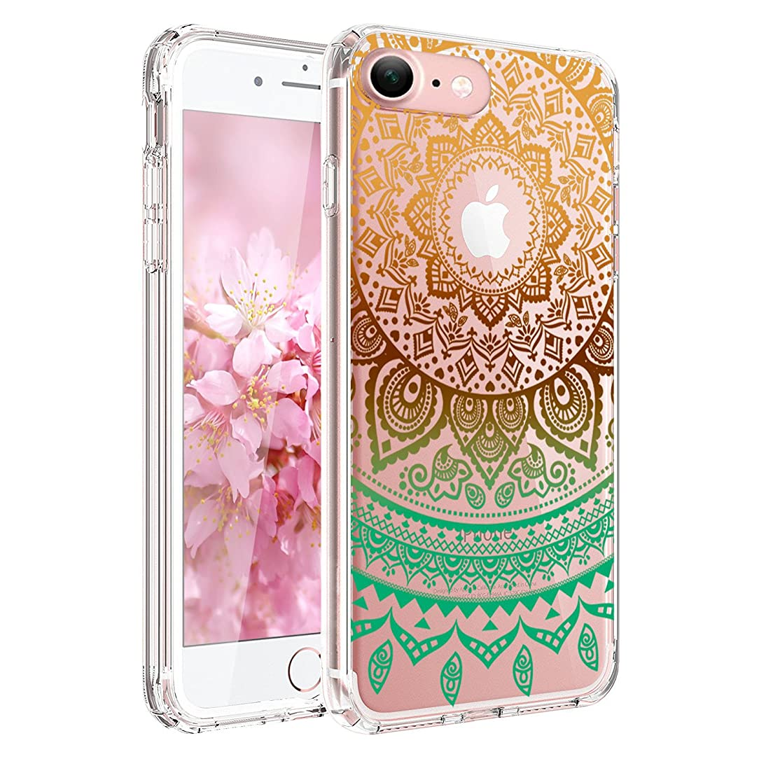 iPhone 6 Case, iPhone 6s Case,JAHOLAN TPU Silicone Gel Soft Clear Case Cover for Iphone 6 6S - Gold Blue Circle Flower Tribal Mandala