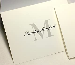 50 Personalized Note Cards with Initial Plus Full Name. Matching Envelopes Included. Choose Large Script Initial in Blue or Block Initial in Grey/Black. Blank Inside.