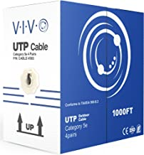 VIVO Black 1,000ft Bulk Cat5e, CCA Ethernet Cable, 24 AWG, UTP Pull Box | Cat-5e Wire, Waterproof, Outdoor, Direct Burial (CABLE-V003)