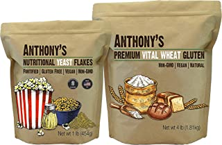 Anthony's Premium Nutritional Yeast Flakes 1 lb & Vital Wheat Gluten 4 lb Bundle