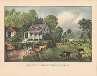 Currier & Ives 1952 Vintage American Homestead Summer Lovely Color Lithograph