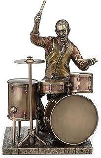 Veronese Design 8.1 Inch African American Male Jazz Band Drummer Bronze Finish Statue
