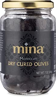 Mina Black Dry Cured Beldi Olives – Great Keto Snacks to Go – Premium Handpicked and Naturally Cured from Morocco– Gluten Free, Low Carb, Vegan - 7 oz Jar