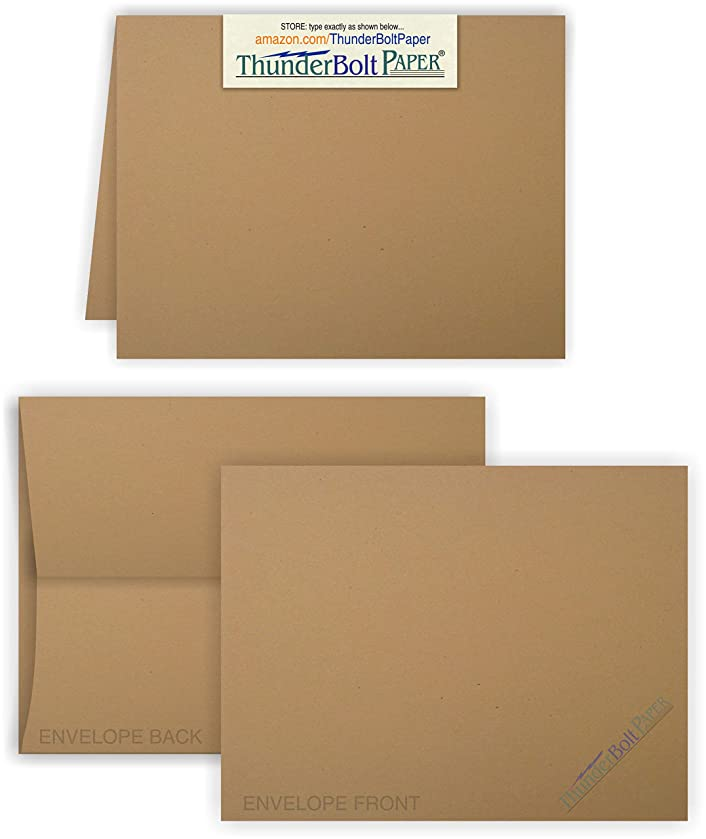 5X7 Folded Size with A-7 Envelopes -Brown Kraft Fiber - 15 Sets (7X10 Cards Scored to Fold in Half) Blank Pack -Invitations, Greeting, Thank Yous, Notes, Holidays, Weddings, Birthdays -80# Cardstock