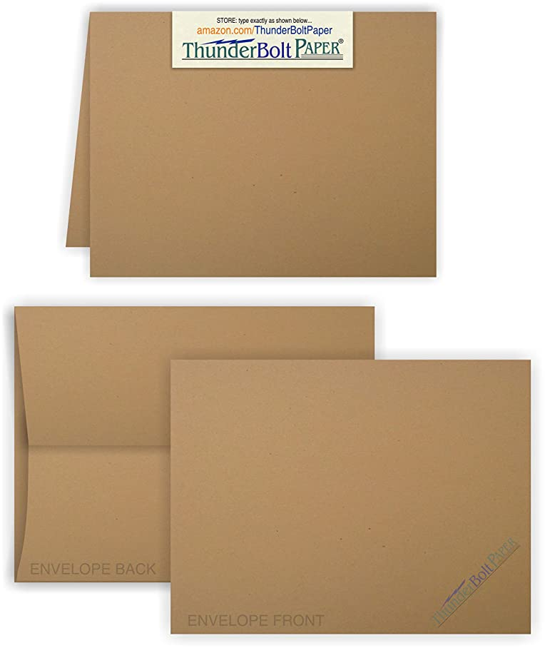 5X7 Folded Size with A-7 Envelopes -Brown Kraft Fiber - 50 Sets (7X10 Cards Scored to Fold in Half) Blank Pack -Invitations, Greeting, Thank Yous, Notes, Holidays, Weddings, Birthdays -80# Cardstock e775617051